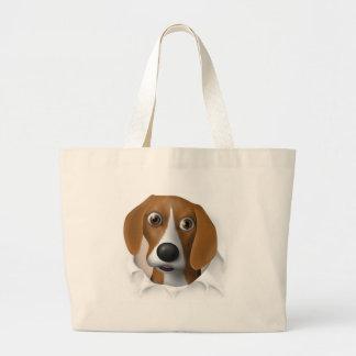 Beagle que revienta hacia fuera bolsa
