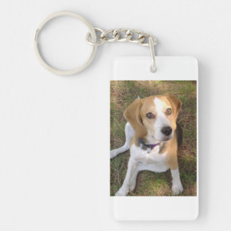 Beagle que sienta 2 llavero rectangular acrílico a doble cara
