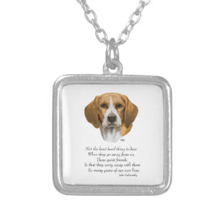 Beagle Rainbow Bridge Silver Plated Necklace