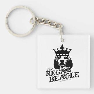 Beagle real llavero cuadrado acrílico a una cara