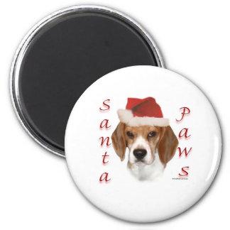 Beagle Santa Paws 2 Inch Round Magnet