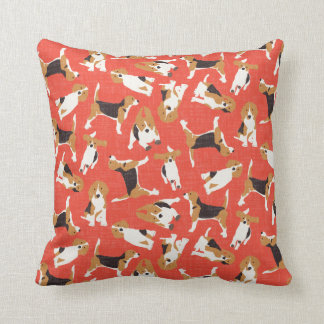 beagle scatter coral red pillow