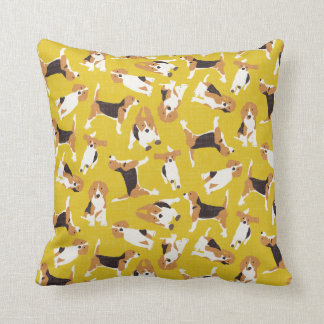 beagle scatter yellow throw pillow