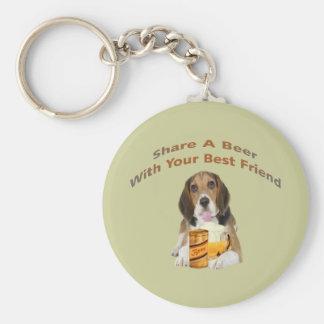 Beagle Shares A Beer Keychain