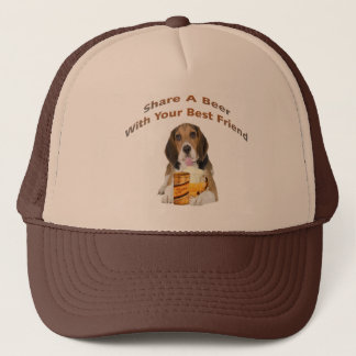 Beagle Shares A Beer Trucker Hat