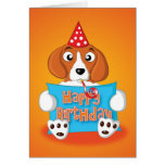 beagle - sign - happy birthday greeting card