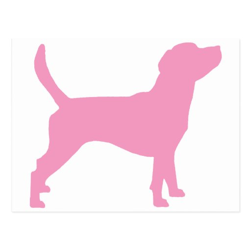 Beagle Silhouette (in pink) Postcard