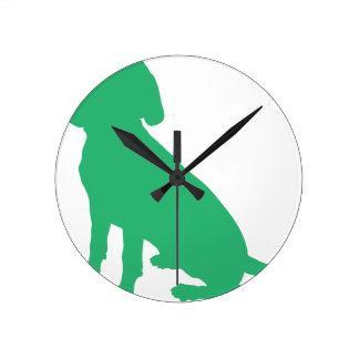 Beagle Silhouette Round Clock