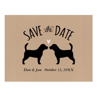 Beagle Silhouettes Wedding Save the Date Postcard