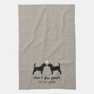 Beagle Silhouettes with Heart Kitchen Towel