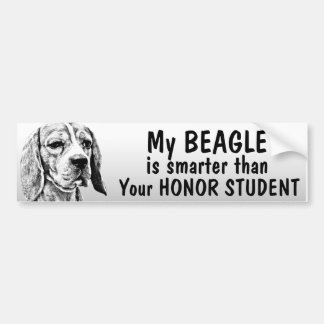 Beagle - Smarter than honor student - funny Car Bumper Sticker