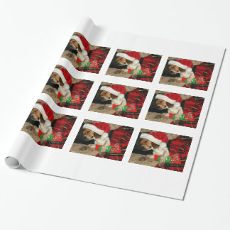"""Beagle Snoopy Dog  """"Waiting for Santa"""" photo Wrapping Paper"""