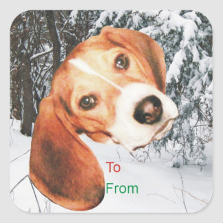 Beagle Snowy Christmas Gift Tag Stickers