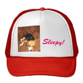 Beagle soñoliento gorros bordados