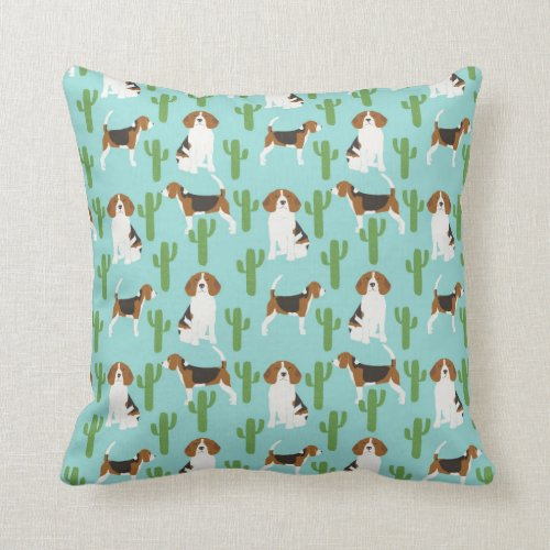 Beagle southwest cactus desert pillow
