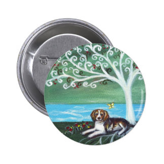 Beagle spiritual tree love butterfly 2 inch round button