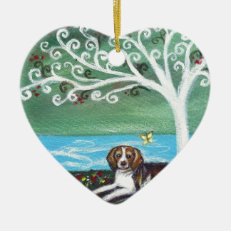 Beagle spiritual tree love butterfly ceramic ornament