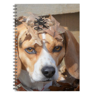 Beagle Sporting Natural Hat of Leaves Spiral Notebook
