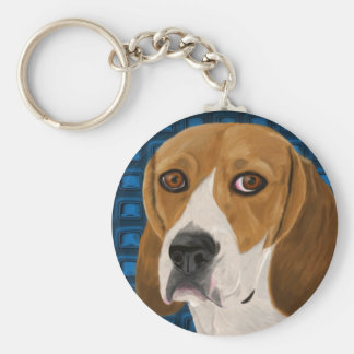 Beagle Staring Directly at You - Digital Paint Keychains