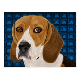 Beagle Staring Directly at You - Digital Paint Postcard