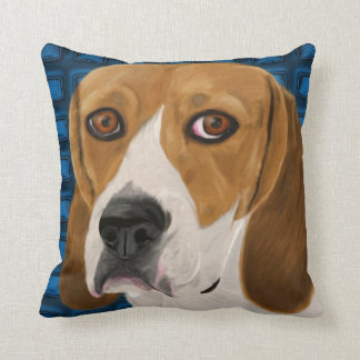 Beagle Staring Directly at You - Digital Paint Throw Pillow