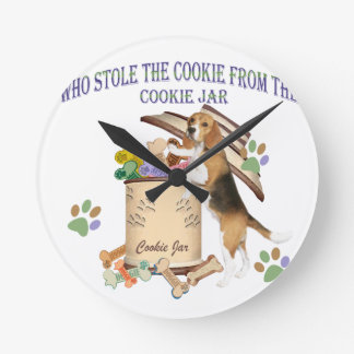 Beagle Stole The Cookie From The Cookie Jar Round Clock