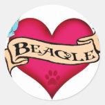 Beagle Tattoo Heart Round Sticker
