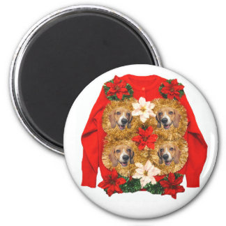 Beagle Ugly Christmas Sweater 2 Inch Round Magnet