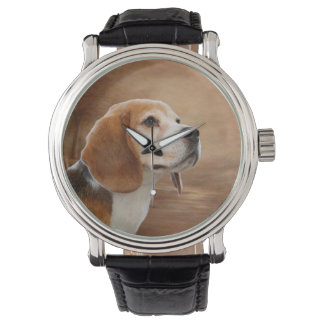 Beagle Vintage Leather Strap Watch, Black Leather Watch
