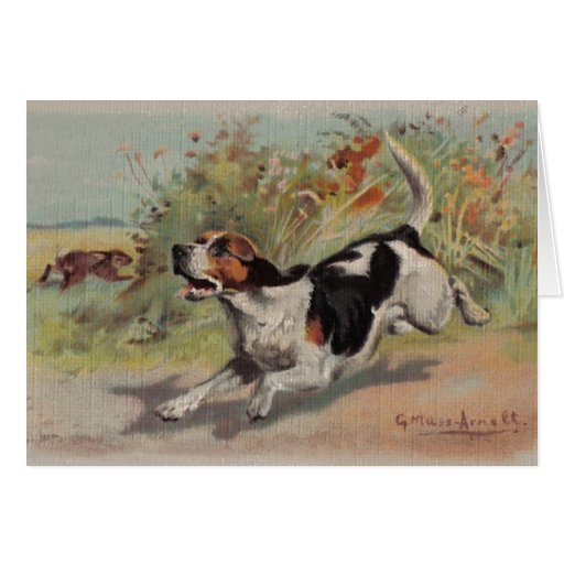 Beagle (vintage painting on canvas) Notecard Greeting Card