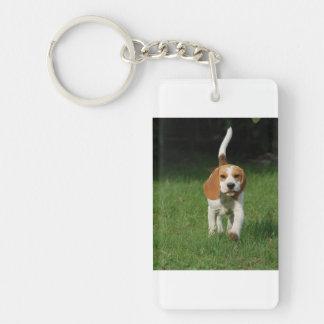beagle walking.png llavero rectangular acrílico a doble cara