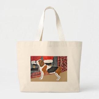 Beagle Watch Dog On Christmas Eve Bag