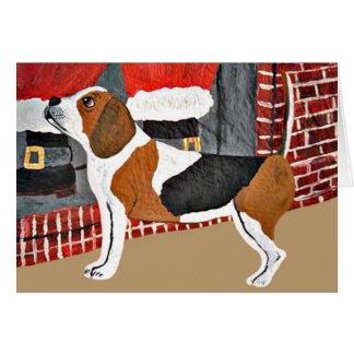 Beagle Watch Dog On Christmas Eve Greeting Card