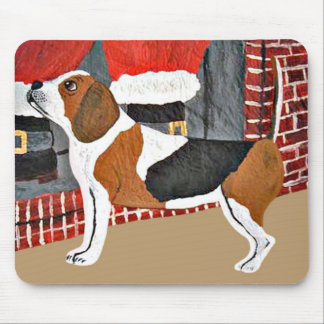 Beagle Watch Dog On Christmas Eve Mouse Pads
