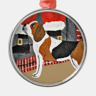 Beagle Watch Dog On Christmas Eve Ornament