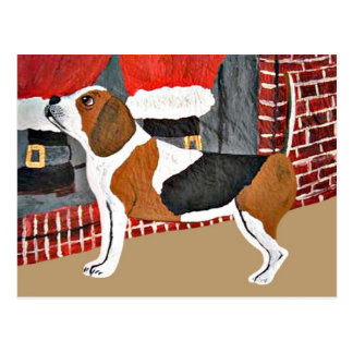 Beagle Watch Dog On Christmas Eve Postcard