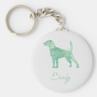 Beagle Watercolor Design Basic Round Button Keychain