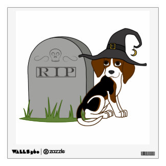 Beagle Witch with RIP Grave Stone Room Sticker