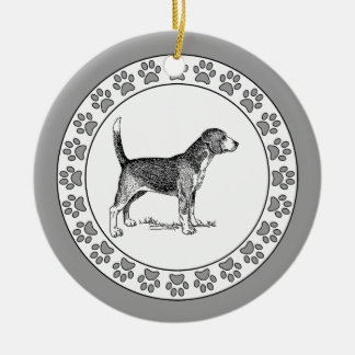 Beagle with Pawprints Ceramic Ornament