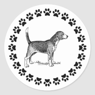 Beagle with Pawprints Classic Round Sticker