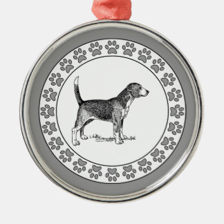 Beagle with Pawprints Metal Ornament