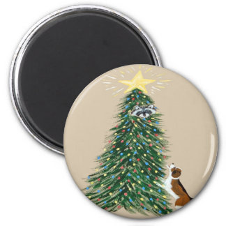 Beagle With Treed Raccoon 2 Inch Round Magnet