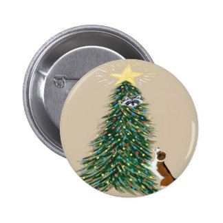 Beagle With Treed Raccoon 2 Inch Round Button