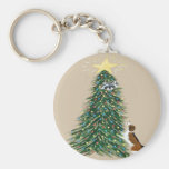 Beagle With Treed Raccoon Basic Round Button Keychain