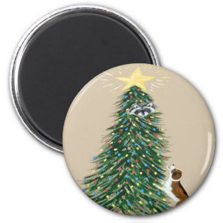 Beagle With Treed Raccoon Refrigerator Magnets