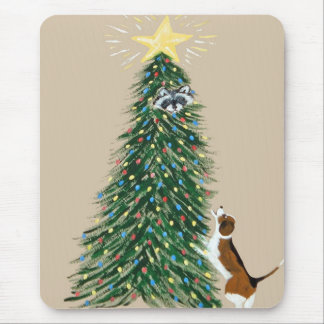 Beagle With Treed Raccoon Mouse Pad