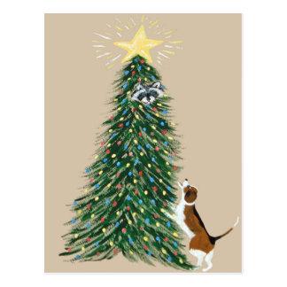 Beagle With Treed Raccoon Post Card