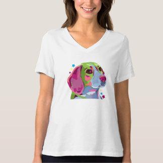 Beagle Womens Adult Jersey V-neck Tshirt