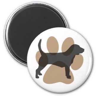 Beagle y Pawprint Imán Redondo 5 Cm