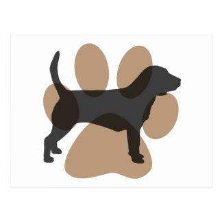 Beagle y Pawprint Tarjeta Postal